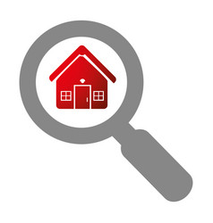 grey magnifying glass with with zoom house vector image