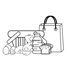 Groceries purchase basket black and white vector