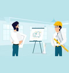 group of architect examining room design plan vector image