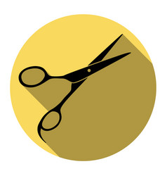 hair cutting scissors sign flat black vector image