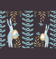 happy easter seamless border vector image