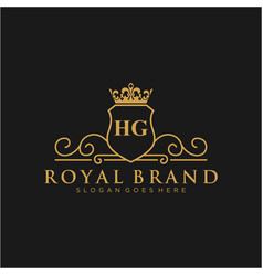 hg letter initial luxurious brand logo template vector image