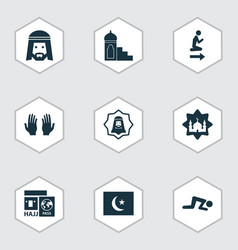 Holiday icons set with namaz hajj muslim and vector