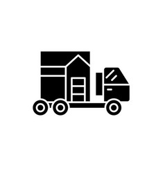 house transportation black icon sign on vector image