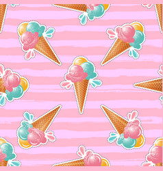 ice cream pattern trendy cute pink background 80s vector image