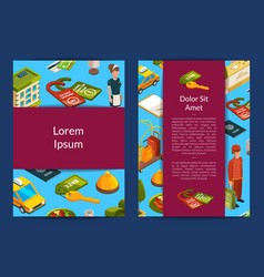 isometric hotel icons card vector image
