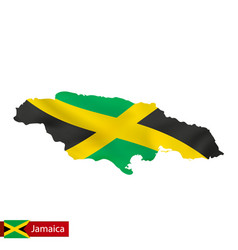 Jamaica map with waving flag country vector