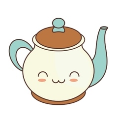 kawaii teapot beverage kitchen ceramic vector image