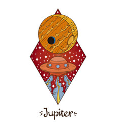 Landscape planet rhombus jupiter vector