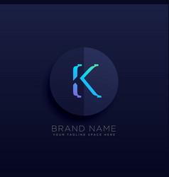 Letter k dark logo concept style vector