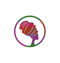 logo design african woman in traditional turban vector image