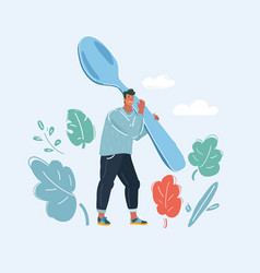 man with spoon on white background vector image
