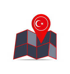 Map turkey isolated with country flags vector