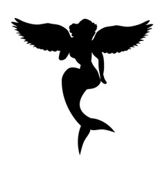mermaid siren silhouette ancient mythology fantasy vector image