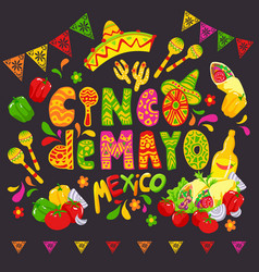 Mexican food sketch cinco de mayo celebration vector