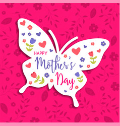 Mothers day card of spring butterfly and flowers vector