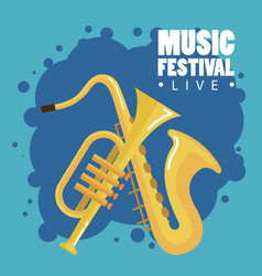 music festival live with saxophone and trumpet vector image