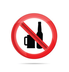 No alcohol sign with beer mug and bottle vector