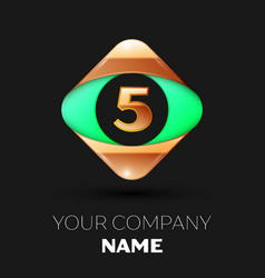 number letter five logo in the golden-green square vector image