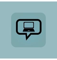 Pale blue laptop message icon vector