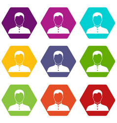 Pastor icon set color hexahedron vector