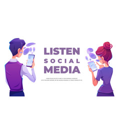 people listen social media using smartphone banner vector image