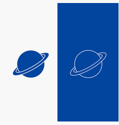 planet space moon flag mars line and glyph web vector image
