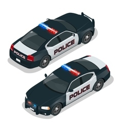 Police car Flat 3d isometric high quality city vector image
