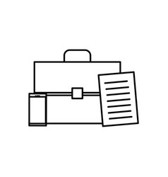 Portfolio briefcase with smartphone and documents vector
