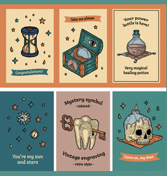 Postcard set gigt and tag in boho mystery style vector