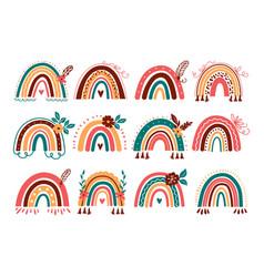 rainbow set abstract boho baby vector image