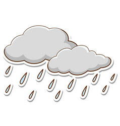 Rainy cloud sticker on white background vector