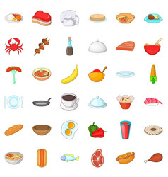 restaurant icons set cartoon style vector image