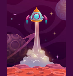 rocket lounch from alien planet vector image