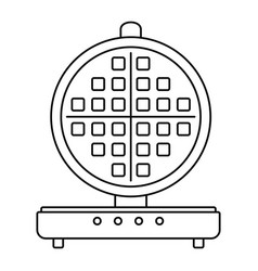 Round waffle machine icon outline style vector