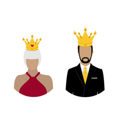 Royal family queen and king in crown monarch vector
