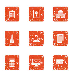 School progress icons set grunge style vector