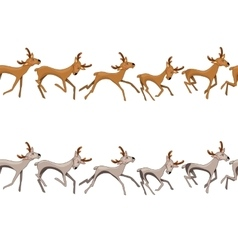Seamless border with galloping deers vector