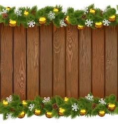 Seamless Christmas Board with Golden Balls vector