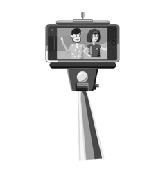 Selfie stick and phone with photo icon vector