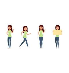 set of woman girl in casual clothes in different vector image