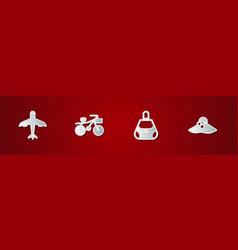 Set plane bicycle handbag and elegant women hat vector