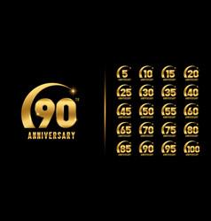 Set premium anniversary logotype golden vector