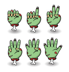 severed zombie counting hand gesture set vector image