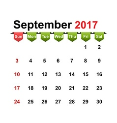 Simple calendar 2017 year september month vector