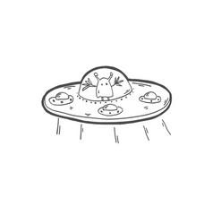 Sketch drawing doodle icon of strange alien vector