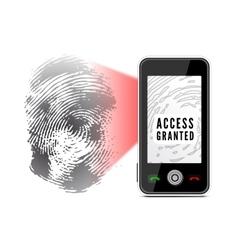 Smartphone scanning a fingerprint vector
