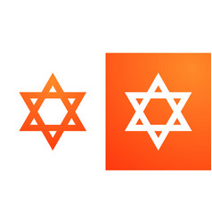 star of david in orange color hexagram symbol of vector image