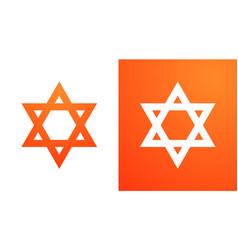 Star of david in orange color hexagram symbol of vector