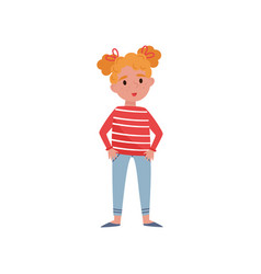 sweet little girl with red hair vector image